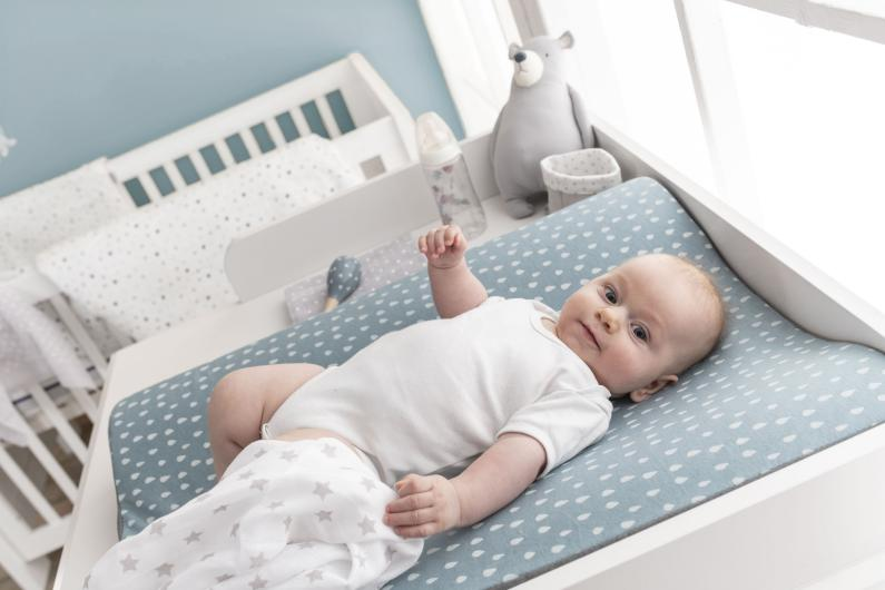 Baby lies on winding trough of Träumeland