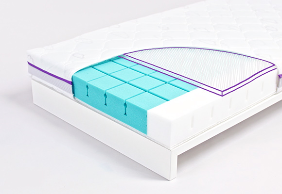 Baby mattress with 3D bubble padding for optimal mattress ventilation.