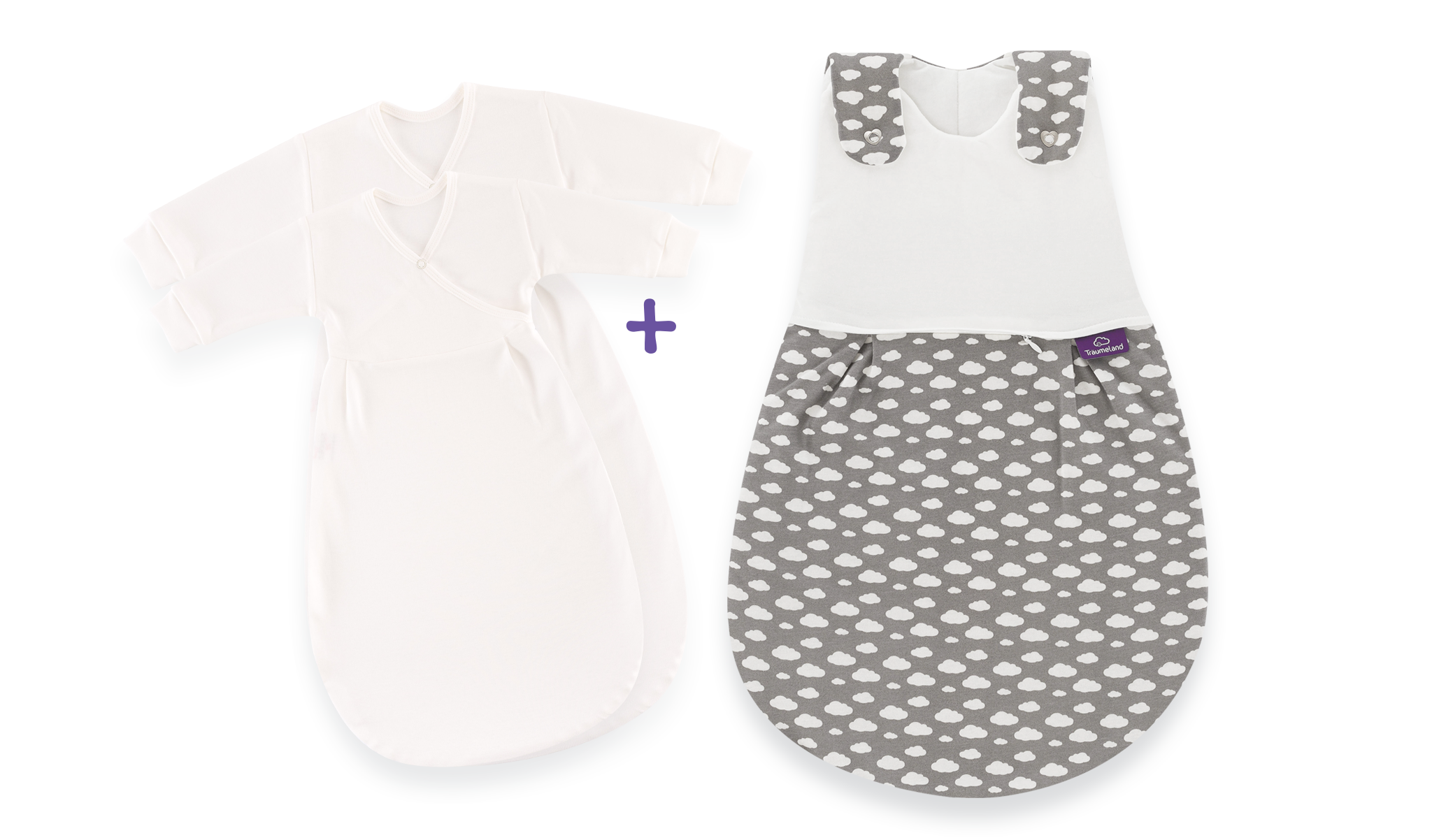 S0102152 - sleeping bag set cloud in grey